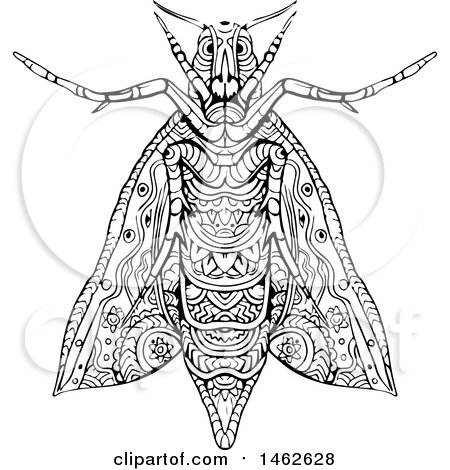 Clipart of a Black and White Elephant Hawk Moth, in Mandala Style - Royalty Free Vector Illustration by patrimonio