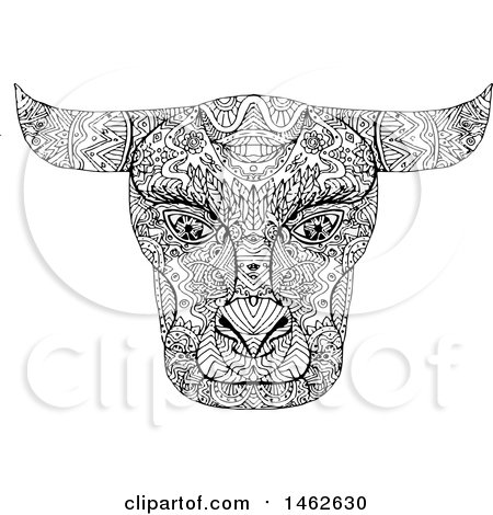 Clipart of a Black and White Taurus Bull Face, in Mandala Style - Royalty Free Vector Illustration by patrimonio