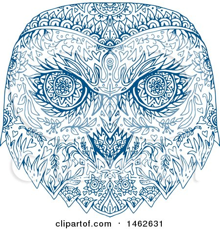 Clipart of a Blue Snowy Owl Face, in Mandala Style - Royalty Free Vector Illustration by patrimonio