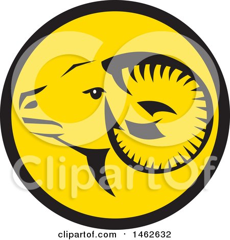 Clipart of a Tribal Ram Sheep Head in a Black and Yellow Circle - Royalty Free Vector Illustration by patrimonio
