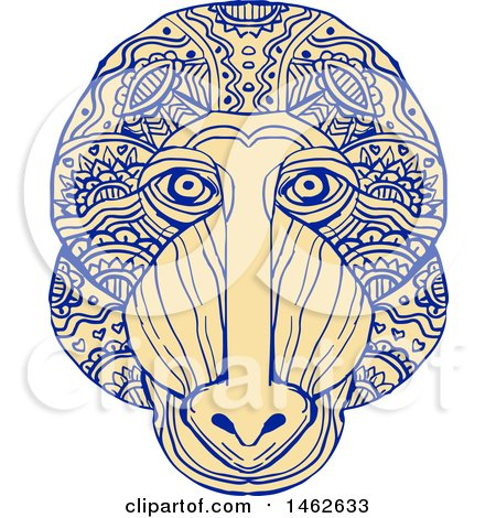 Clipart of a Mandrill Monkey Face, in Mandala Style - Royalty Free Vector Illustration by patrimonio