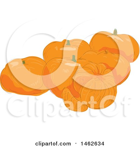 Clipart of a Group of Mandarins, in Watercolor Style - Royalty Free Vector Illustration by patrimonio