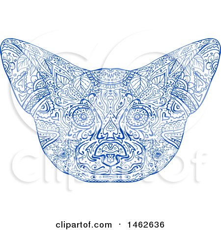 Clipart of a Blue Fennec Fox Face, in Mandala Style - Royalty Free Vector Illustration by patrimonio