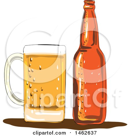 Clipart of a Craft Beer Mug and Bottle, in Watercolor Style - Royalty Free Vector Illustration by patrimonio