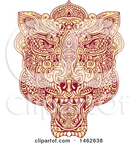 Clipart of a Tiger Face, in Mandala Style - Royalty Free Vector Illustration by patrimonio