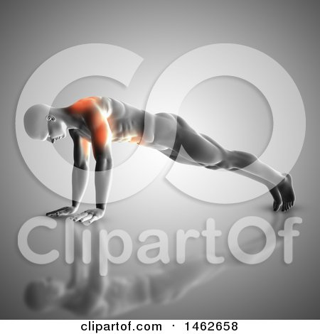 Clipart of a 3d Man with Glowing Muscles Used During Pushups, on Gray - Royalty Free Illustration by KJ Pargeter
