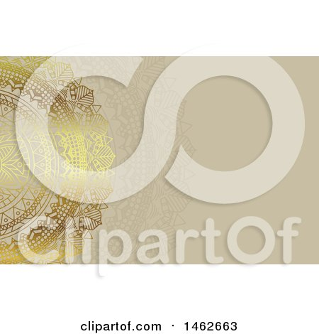 Clipart of a Golden Mandala over Tan - Royalty Free Vector Illustration by KJ Pargeter