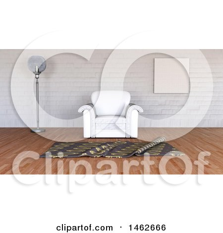 Clipart of a 3d Minimalist Interior with a Chair - Royalty Free Illustration by KJ Pargeter