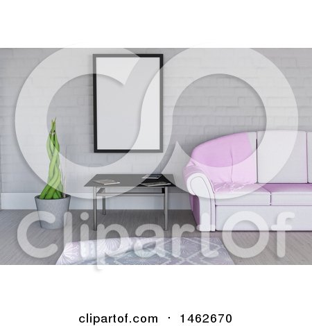 Clipart of a 3d Blank Picture Frame in a Living Room Interior - Royalty Free Illustration by KJ Pargeter