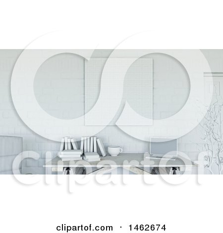 Clipart of a 3d White Interior with a Blank Canvas over a Desk - Royalty Free Illustration by KJ Pargeter