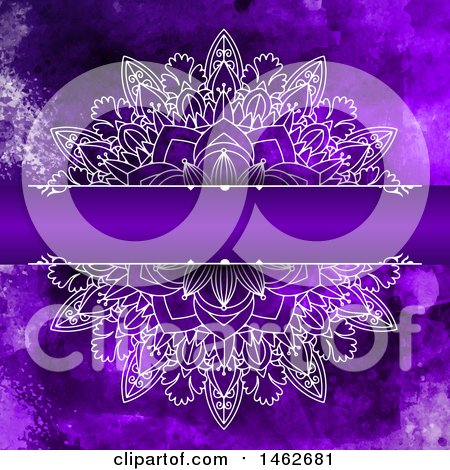 Clipart of a Purple Watercolor and Mandala Design Background - Royalty Free Vector Illustration by KJ Pargeter