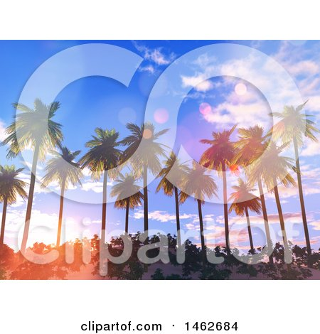 Clipart of a Sunset Sky over 3d Tropical Palm Trees - Royalty Free Illustration by KJ Pargeter