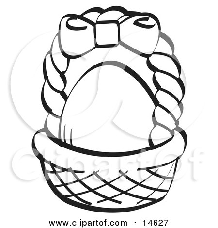 Egg In A Brown Easter Basket With A Pink Bow On The Handle, Black and White Clipart Illustration by Andy Nortnik