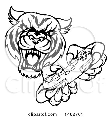 Clipart of a Black and White Tiger Mascot Playing a Video Game - Royalty Free Vector Illustration by AtStockIllustration