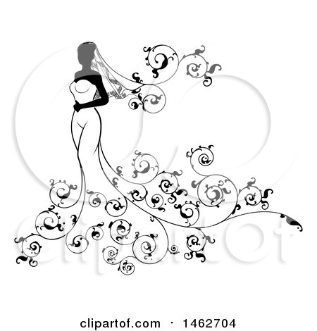 Clipart of a Silhouetted Black and White Bride with Swirls - Royalty Free Vector Illustration by AtStockIllustration