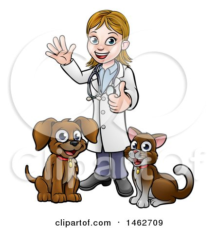 Clipart of a White Female Veterinarian Waving and Giving a Thumb up over a Cat and Dog - Royalty Free Vector Illustration by AtStockIllustration