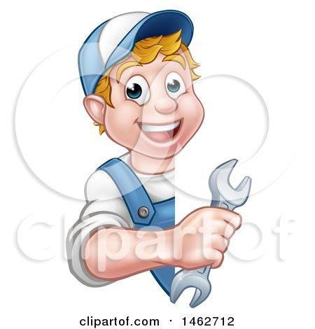 Cartoon Happy White Male Worker Holding a Spanner Wrench Around a Sign Posters, Art Prints