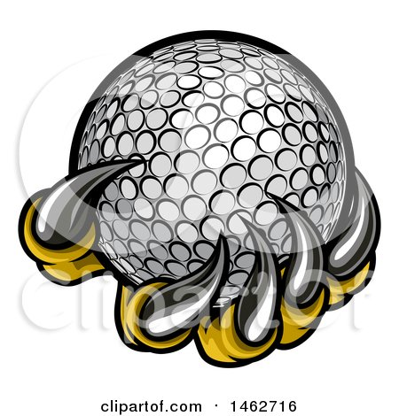Clipart of Monster or Eagle Claws Holding a Golf Ball - Royalty Free Vector Illustration by AtStockIllustration