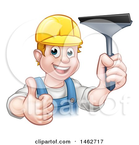 Clipart of a Cartoon Happy White Male Window Cleaner Giving a Thumb up and Holding a Squeegee - Royalty Free Vector Illustration by AtStockIllustration