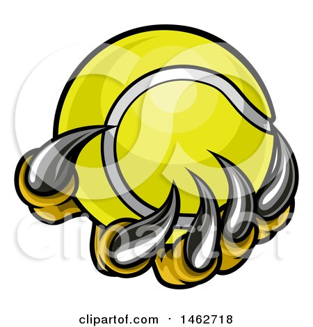 Clipart of Monster or Eagle Claws Holding a Tennis Ball - Royalty Free Vector Illustration by AtStockIllustration