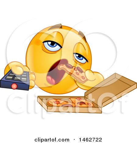 Clipart of a Yellow Emoji Couch Potato Emoticon Eating Pizza and Holding a Tv Remote - Royalty Free Vector Illustration by yayayoyo