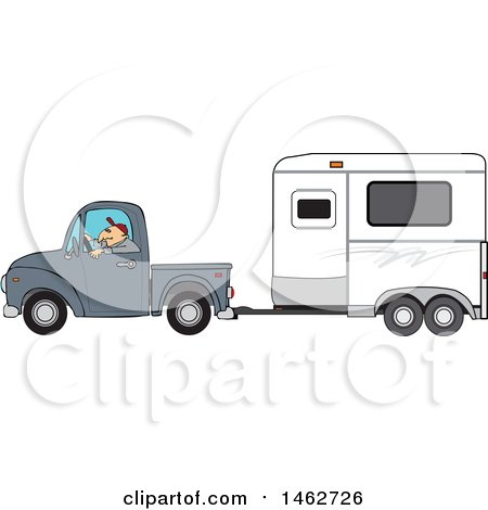 Clipart of a Man Driving a Pickup Truck and Hauling a Horse Trailer - Royalty Free Vector Illustration by djart