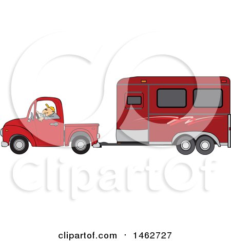 Clipart of a Man Driving a Red Pickup Truck and Hauling a Horse Trailer - Royalty Free Vector Illustration by djart