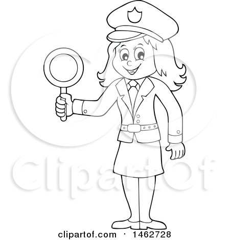 Clipart of a Black and White Police Woman Holding a Sign - Royalty Free Vector Illustration by visekart