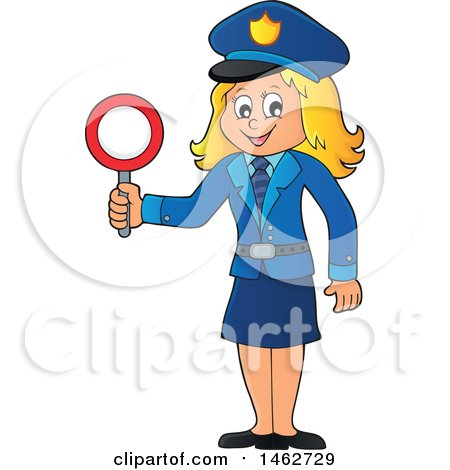 Clipart of a Happy Blond Police Woman Holding a Sign - Royalty Free Vector Illustration by visekart