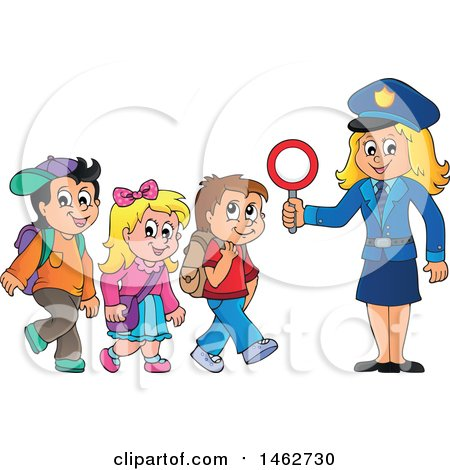Clipart of a Happy Blond Police Woman Helping Children Cross a Street - Royalty Free Vector Illustration by visekart