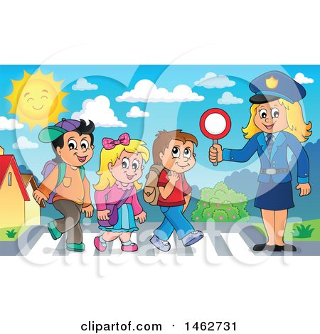 Clipart of a Happy Blond Police Woman Helping Children on a Crosswalk - Royalty Free Vector Illustration by visekart