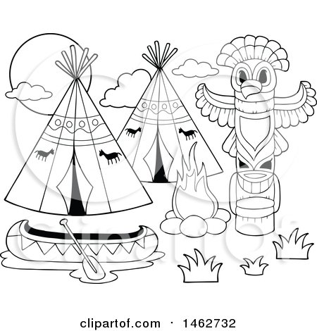 Clipart Of A Black And White Native American Camp With Canoe