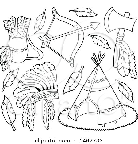Black and White Native American Arrows, Bow, Tomahawk, Headdress and Teepee Posters, Art Prints