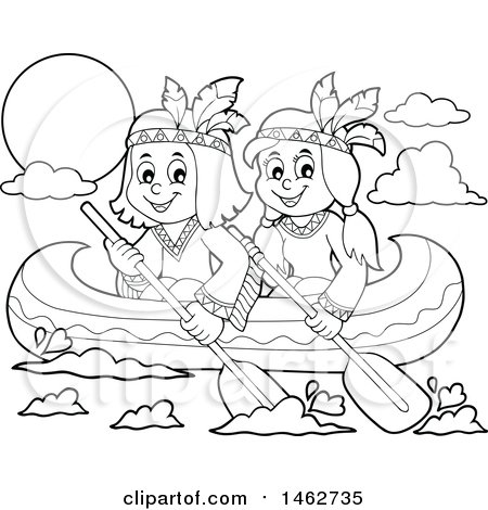 Clipart Of Black And White Native American Children Rowing A Canoe