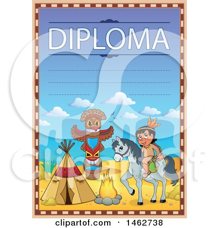 Clipart of a Diploma with a Horseback Native American and Camp - Royalty Free Vector Illustration by visekart
