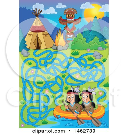 Clipart of a Maze Game of Native American Children in a Canoe Leading to Camp - Royalty Free Vector Illustration by visekart