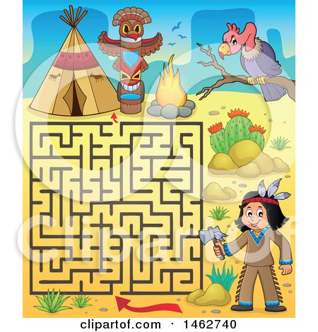 Clipart of a Maze Game of a Native American Boy Holding an Axe and Camp in a Desert - Royalty Free Vector Illustration by visekart