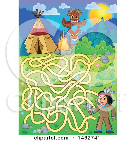 Clipart of a Maze Game of a Native American Boy Holding an Axe and Camp in the Mountains - Royalty Free Vector Illustration by visekart