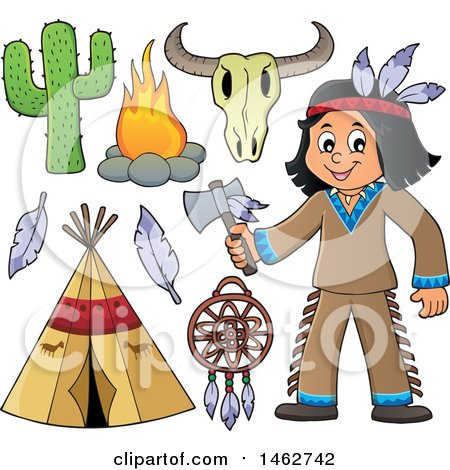 Clipart of a Native American Boy Holding an Axe and Other Items - Royalty Free Vector Illustration by visekart