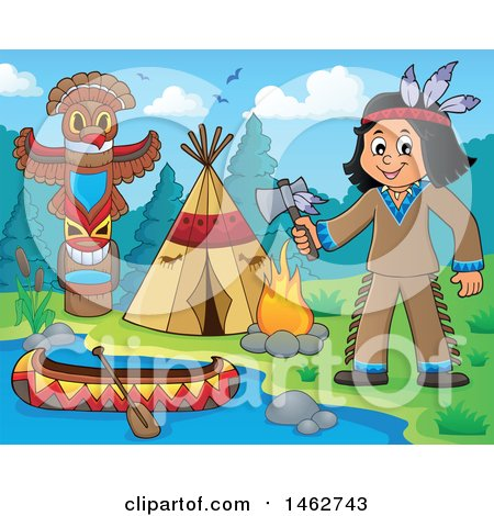 Clipart of a Native American Boy Holding an Axe at a River Camp - Royalty Free Vector Illustration by visekart