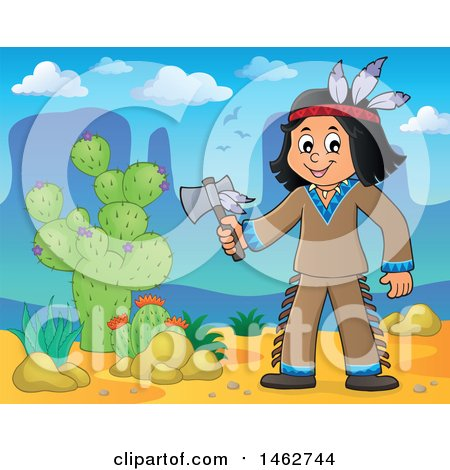 Clipart of a Native American Boy Holding an Axe in the Desert - Royalty Free Vector Illustration by visekart