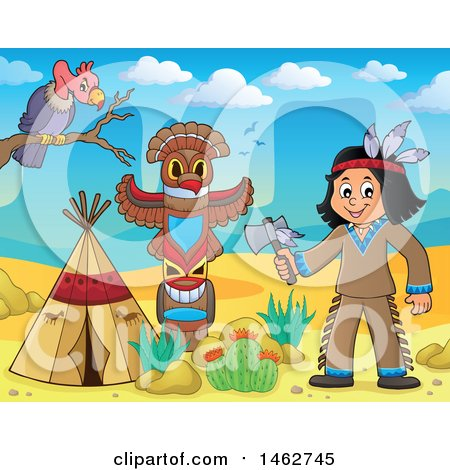 Clipart of a Native American Boy Holding an Axe in a Desert Camp - Royalty Free Vector Illustration by visekart