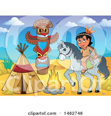 Clipart of a Native American Boy Holding an Axe on Horseback at a Desert Camp - Royalty Free Vector Illustration by visekart