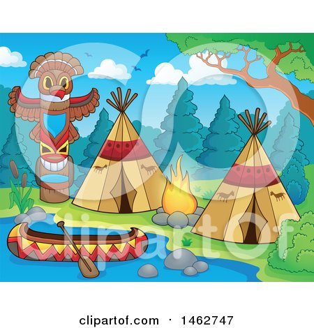 Clipart of a Native American Camp Site on a River - Royalty Free Vector Illustration by visekart