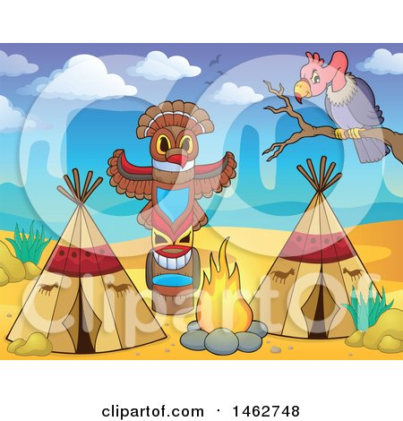 Clipart of a Native American Camp Site in the Desert - Royalty Free Vector Illustration by visekart