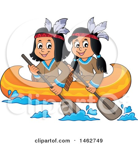 Clipart of Native American Children Rowing a Canoe - Royalty Free Vector Illustration by visekart