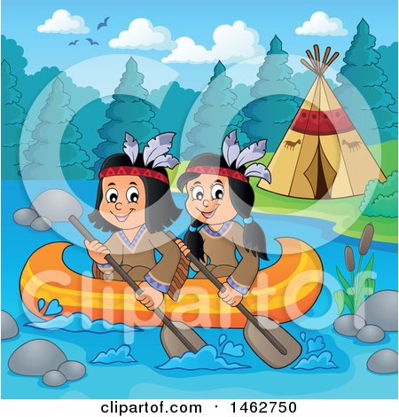 Clipart of Native American Children Rowing a Canoe by a River Camp - Royalty Free Vector Illustration by visekart