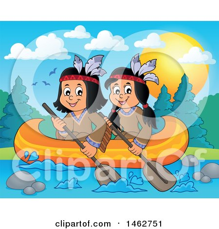Clipart of Native American Children Rowing a Canoe on a River - Royalty Free Vector Illustration by visekart