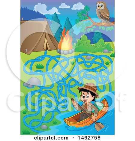 Clipart of a Maze of a Boy Canoeing a Boat by a Campsite - Royalty Free Vector Illustration by visekart