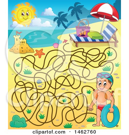 Clipart of a Maze of a Boy Holding an Inner Tube on a Beach - Royalty Free Vector Illustration by visekart